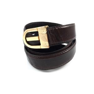 Vintage brown eel skin belt with gold buckle